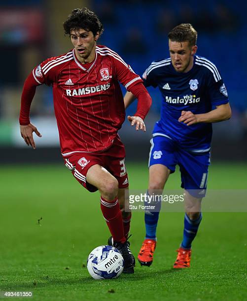 Diego Fabbrini of Boro in action during the Sky Bet Championship match between Cardiff City and Middlesbrough at Cardiff City Stadium on October 20...