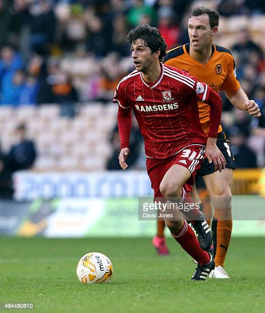 Diego Fabbrini of Middlesborough in action during the Sky Bet Championship match between Wolverhampton Wanderers and Middlesborough at Molineux...