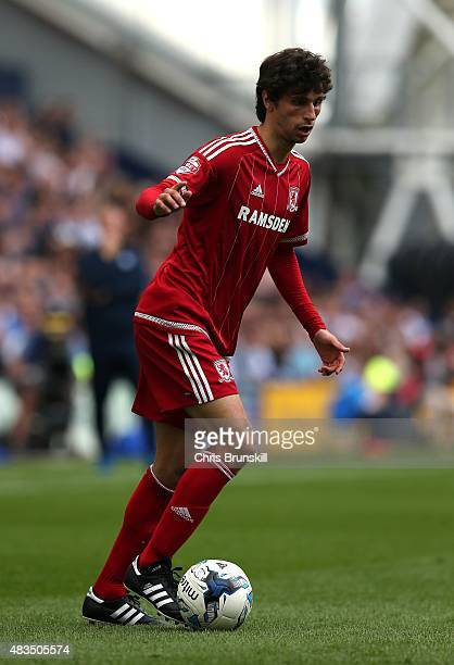 Diego Fabbrini of Middlesbrough in action during the Sky Bet Championship match between Preston North End and Middlesbrough at Deepdale on August 9...