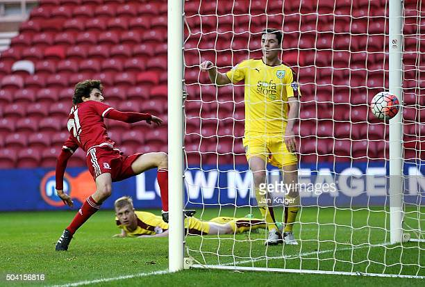 Diego Fabbrini of Middlesbrough scores the opening goal during the Emirates FA Cup third round match between Middlesbrough and Burnley at Riverside...