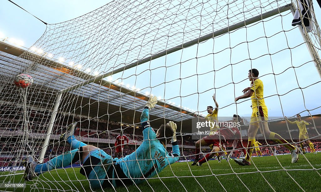 Diego Fabbrini of Middlesbrough scores the opening goal during the Emirates FA Cup third round match between Middlesbrough and Burnley at Riverside Stadium on January 9, 2016 in Middlesbrough, England.