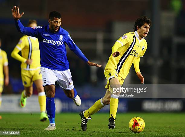 Diego Fabbrini of Millwall evades David Davis of Birmingham City during the Sky Bet Championship match between Birmingham City and Millwall at St...