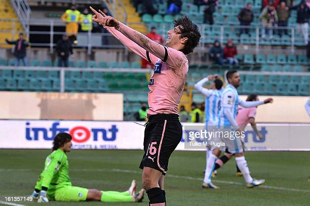 Diego Fabbrini of Palermo celebrates after scoring his team's first goal to equalise during the Serie A match between US Citta di Palermo and Pescara...