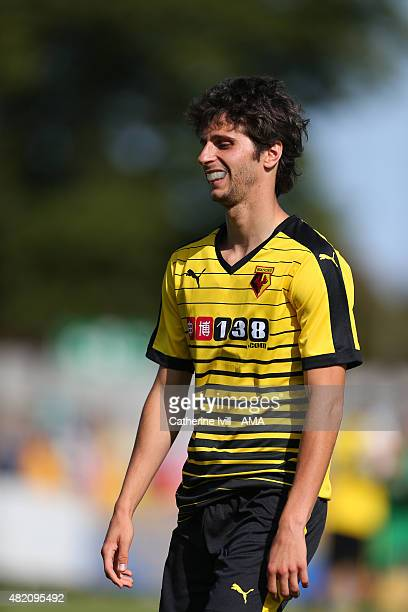 Diego Fabbrini of Watford wearing a mouthguard after the Pre Season Friendly match between AFC Wimbledon and Watford at The Cherry Red Records...