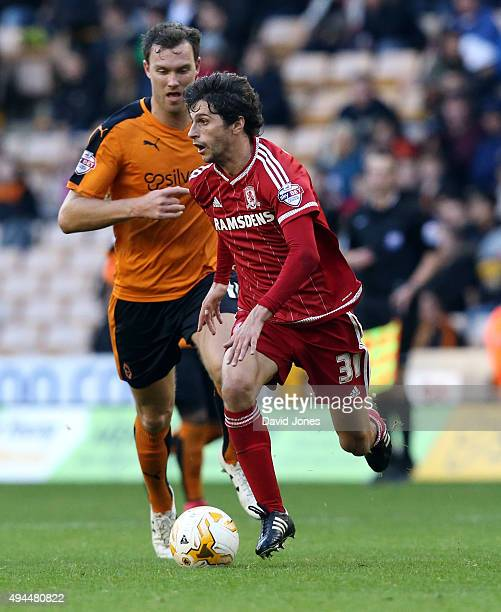 Diego Fabrini of Middlesborough in action during the Sky Bet Championship match between Wolverhampton Wanderers and Middlesborough at Molineux...