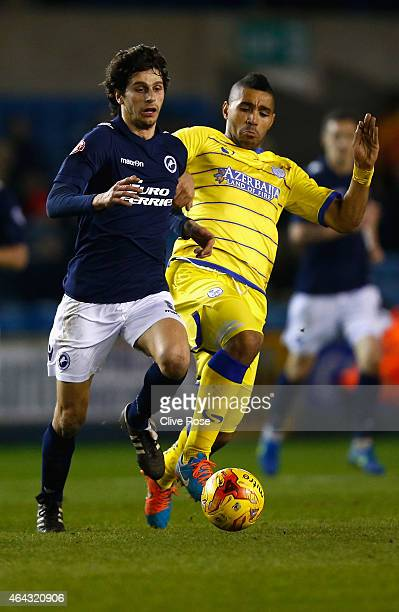 Diego Fabrini of Millwall in action during the Sky Bet Championship match between Millwall and Sheffield Wednesday at The Den on February 24 2015 in...