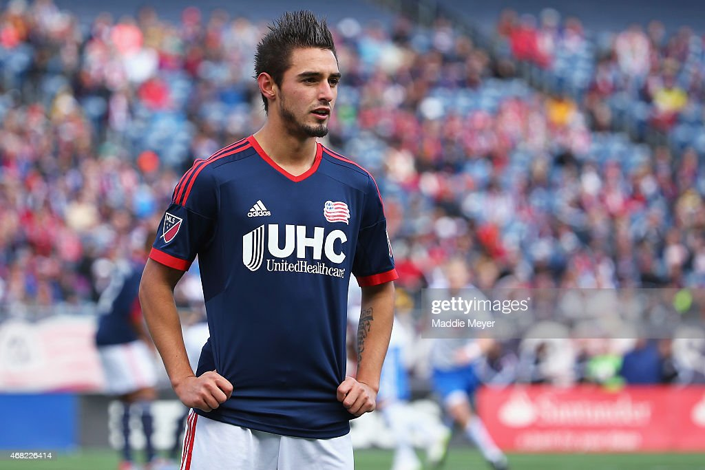 Diego Fagundez of New England Revolution looks on during the first half at Gillette Stadium on March 21 2015 in Foxboro Massachusetts