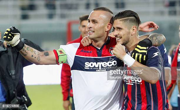 Diego Falcinelli and Alex Cordaz of Crotone celebrate after the Serie A match between FC Crotone and AC ChievoVerona at Stadio Comunale Ezio Scida on...
