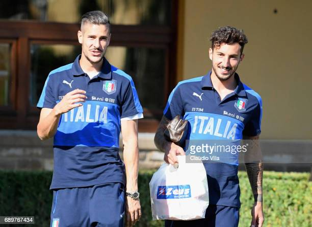 Diego Falcinelli and Federico Ceccherini of Italy smile during the training session at Coverciano at Coverciano on May 29 2017 in Florence Italy