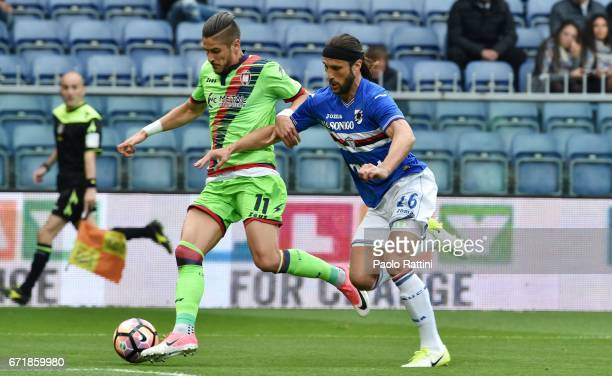 Diego Falcinelli and Matias Silvestre during the Serie A match between UC Sampdoria and FC Crotone at Stadio Luigi Ferraris on April 23 2017 in Genoa...