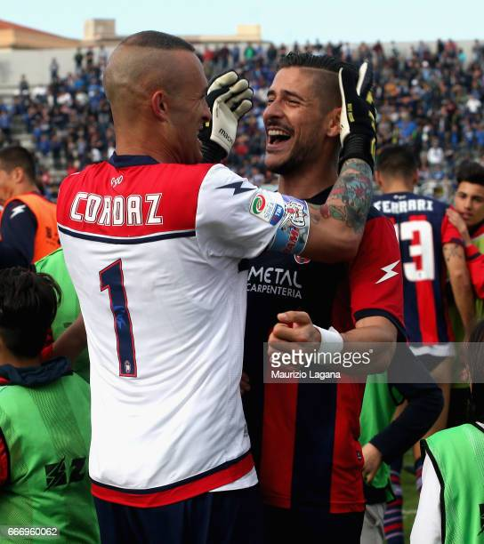 Diego Falcinelli ans Alex Cordaz of Crotone celebrate after the Serie A match between FC Crotone and FC Internazionale at Stadio Comunale Ezio Scida...