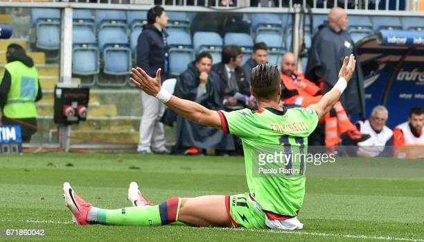 Diego Falcinelli disappointment during the Serie A match between UC Sampdoria and FC Crotone at Stadio Luigi Ferraris on April 23 2017 in Genoa Italy