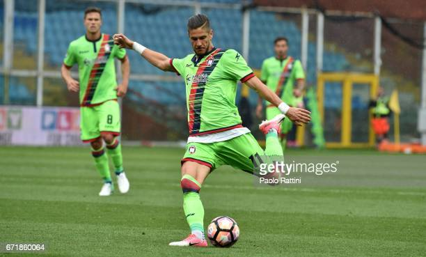 Diego Falcinelli in action during the Serie A match between UC Sampdoria and FC Crotone at Stadio Luigi Ferraris on April 23 2017 in Genoa Italy