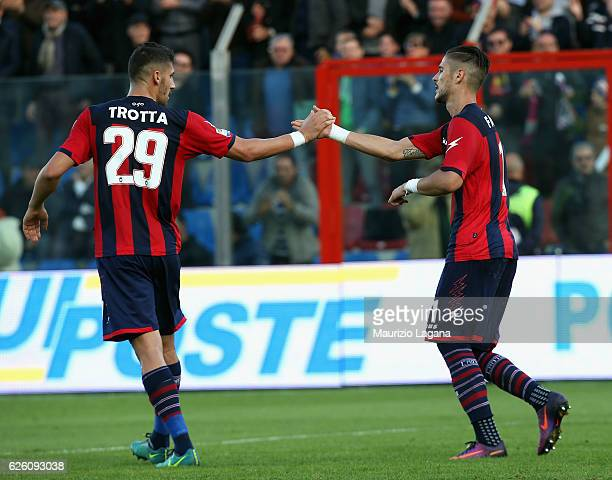 Diego Falcinelli of Crotone celebrates after scoring his team's opening goal during the Serie A match between FC Crotone and UC Sampdoria at Stadio...