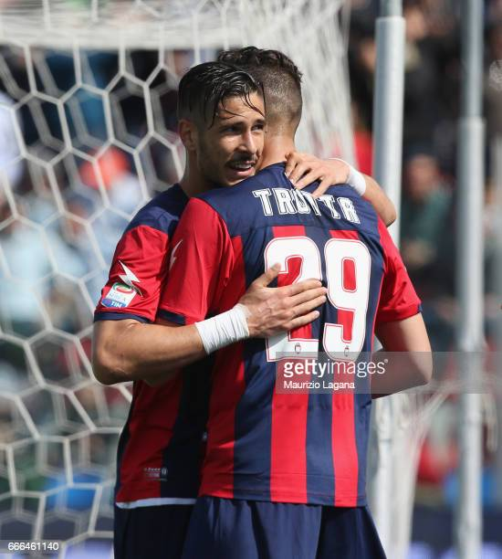 Diego Falcinelli of Crotone celebrates after scoring his team's opening goal during the Serie A match between FC Crotone and FC Internazionale at...