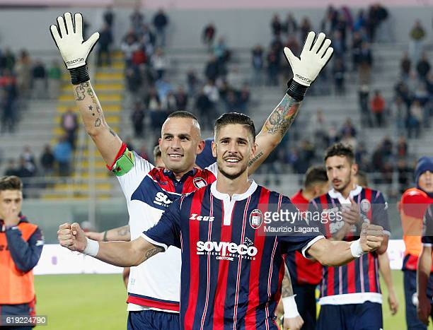 Diego Falcinelli of Crotone celebrates after scoring his team's second goal during the Serie A match between FC Crotone and AC ChievoVerona at Stadio...