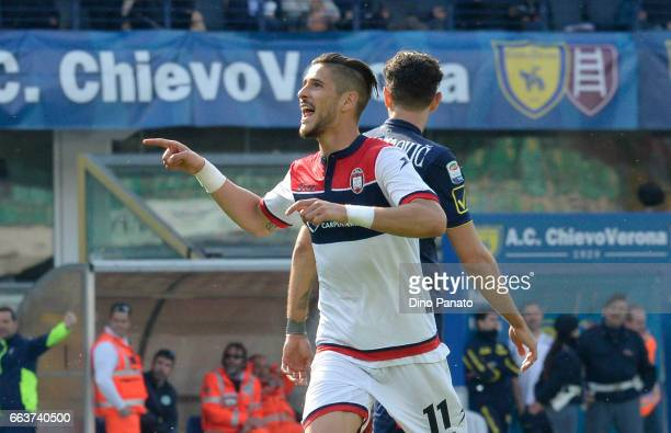 Diego Falcinelli of Crotone celebrates after scoring his teams second goal during the Serie A match between AC ChievoVerona and FC Crotone at Stadio...