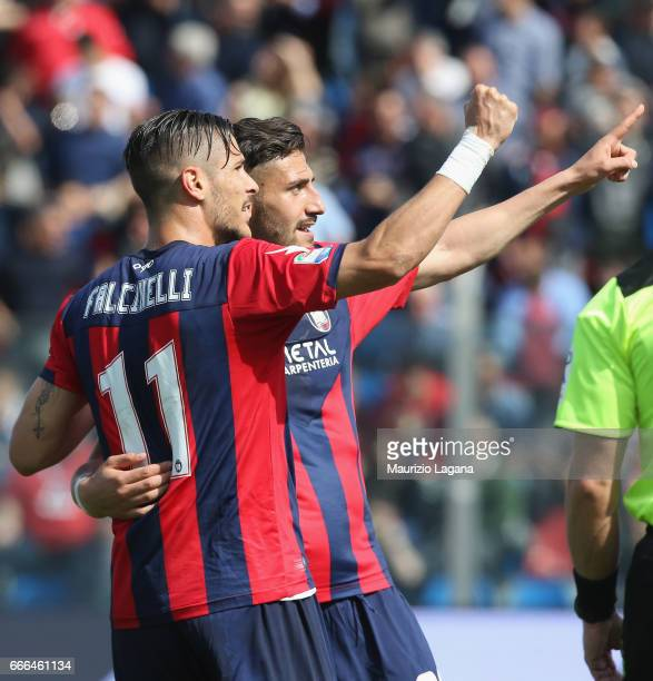 Diego Falcinelli of Crotone celebrates after scoring his team's second goal during the Serie A match between FC Crotone and FC Internazionale at...