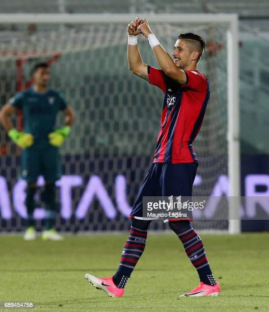 Diego Falcinelli of Crotone celebrates after scoring his team's second goal during the Serie A match between FC Crotone and SS Lazio at Stadio...