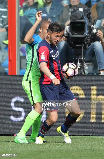 Diego Falcinelli of Crotone competes for the ball during the Serie A match between FC Crotone and FC Internazionale at Stadio Comunale Ezio Scida on...