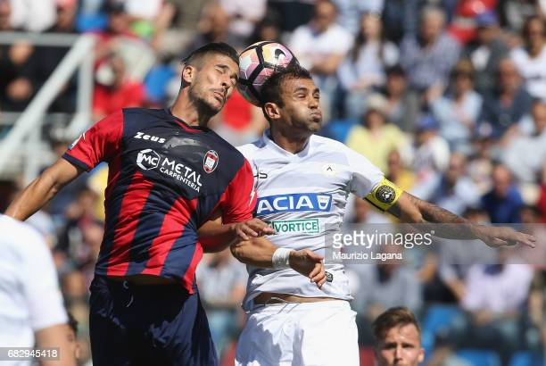 Diego Falcinelli of Crotone competes for the ball in air with Danilo of Udinese during the Serie A match between FC Crotone and Udinese Calcio at...