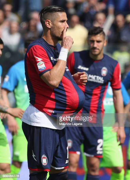 Diego Falcinelli of Crotone during the Serie A match between FC Crotone and FC Internazionale at Stadio Comunale Ezio Scida on April 9 2017 in...