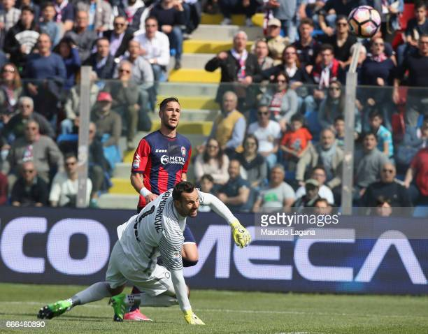 Diego Falcinelli of Crotone scores his team's second goal during the Serie A match between FC Crotone and FC Internazionale at Stadio Comunale Ezio...