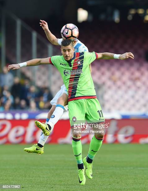 Diego Falcinelli of FC Crotone in action during the Serie A match between SSC Napoli and FC Crotone at Stadio San Paolo on March 12 2017 in Naples...
