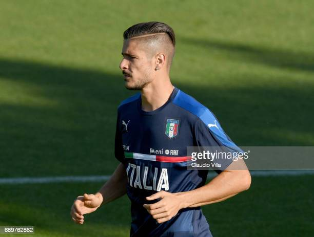 Diego Falcinelli of Italy in action during a training session at Coverciano at Coverciano on May 29 2017 in Florence Italy