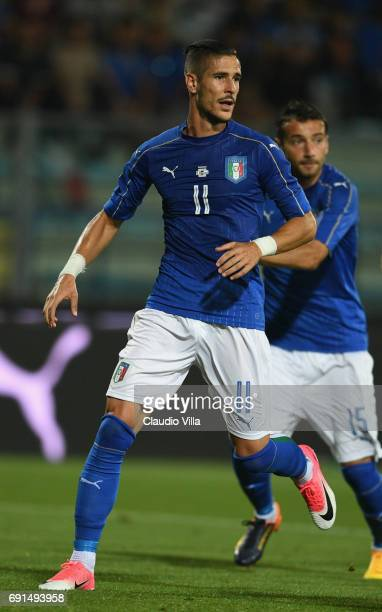 Diego Falcinelli of Italy in action during the international friendy match played between Italy and San Marino at Stadio Carlo Castellani on May 31...