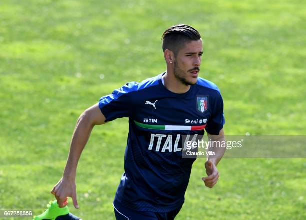 Diego Falcinelli of Italy in action during the training session at the club's training ground at Coverciano on April 11 2017 in Florence Italy