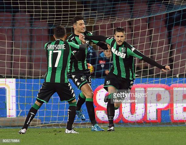 Diego Falcinelli of Sassuolo celebrates after scoring his team's opening goal during the Serie A match between SSC Napoli and US Sassuolo Calcio at...