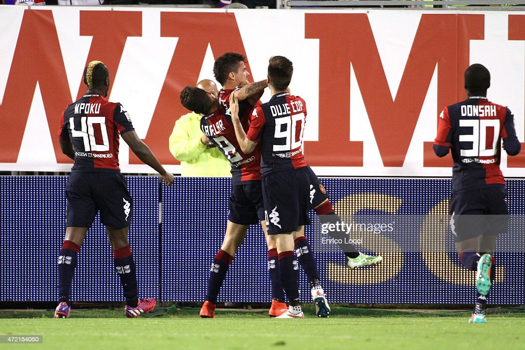Diego Farias of Cagliari celebrated the goal 20 during the Serie A match between Cagliari Calcio and Parma FC at Stadio Sant'Elia on May 4 2015 in...