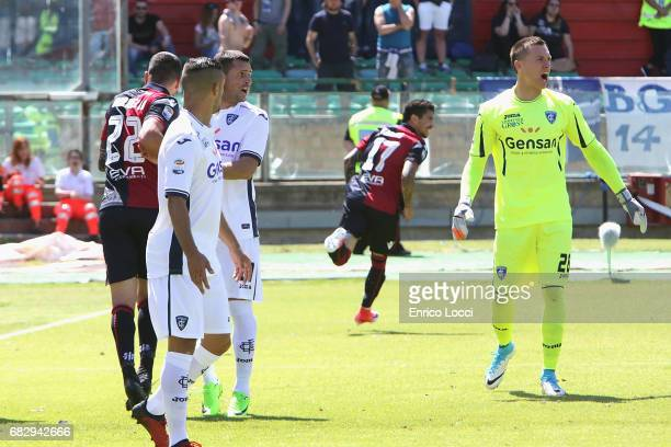 Diego Farias of Cagliari celebrates his goal 20 during the Serie A match between Cagliari Calcio and Empoli FC at Stadio Sant'Elia on May 14 2017 in...