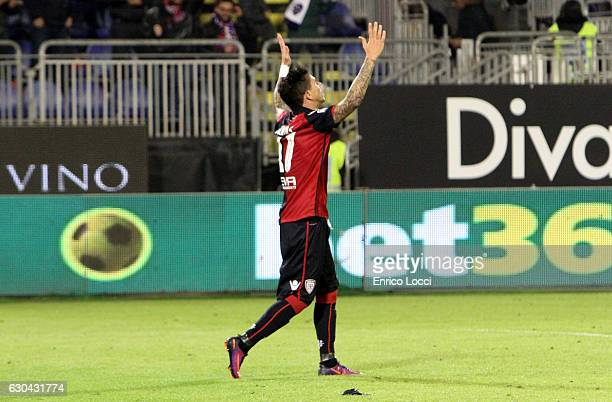 Diego Farias of Cagliari celebrates the goal during the Serie A match between Cagliari Calcio and US Sassuolo at Stadio Sant'Elia on December 22 2016...