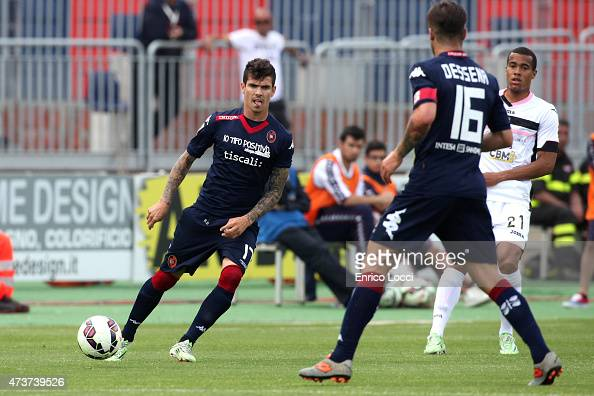 Diego Farias of Cagliari in action during the Serie A match between Cagliari Calcio and US Citta di Palermo at Stadio Sant'Elia on May 17 2015 in...
