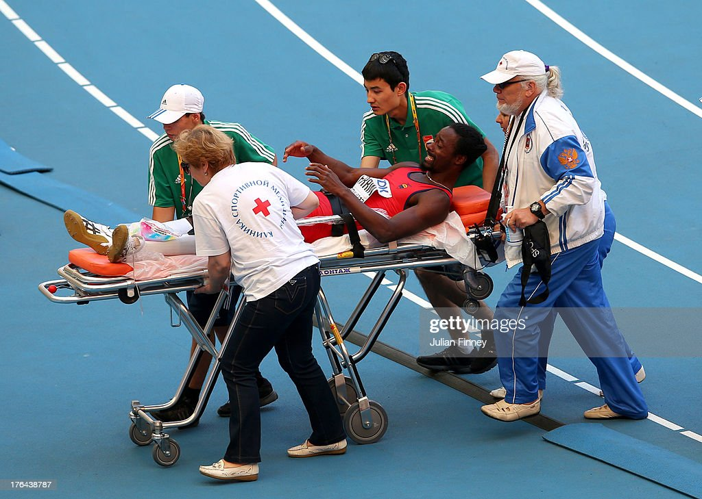 Diego Ferrin of Ecuador is taken off on a stretcher after an injury during the in the Men's High Jump qualification during Day Four of the 14th IAAF World Athletics Championships Moscow 2013 at Luzhniki Stadium on August 13, 2013 in Moscow, Russia.