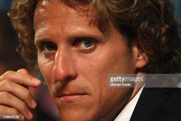Diego Forlan during the Atletico Madrid press conference at the Grimaldi Forum on August 26 2010 in Monaco Monaco