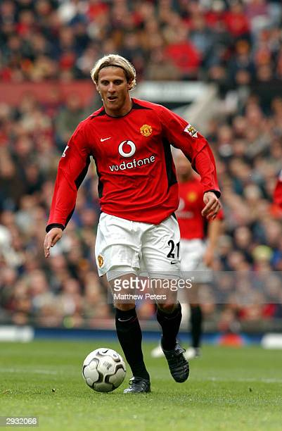 Diego Forlan in action during the FA Barclaycard Premiership match between Manchester United v Fulham on October 25 2003 in Manchester England