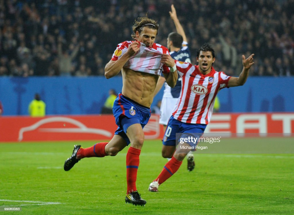Diego Forlan of Atletico Madrid celebrates after scoring the opening goal during the UEFA Europa League final match between Atletico Madrid and Fulham at HSH Nordbank Arena on May 12, 2010 in Hamburg, Germany.