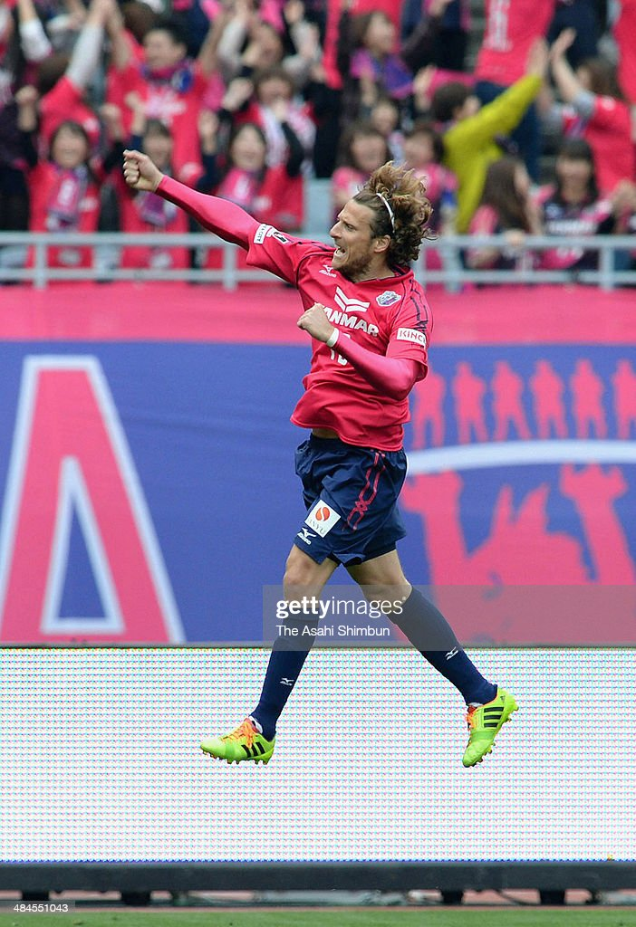 <a gi-track='captionPersonalityLinkClicked' href=/galleries/search?phrase=Diego+Forlan&family=editorial&specificpeople=171096 ng-click='$event.stopPropagation()'>Diego Forlan</a> of Cerezo Osaka celebrates scoring his team's second goal during the J.League match between Cerezo Osaka and Gamba Osaka at Nagai Stadium on April 12, 2014 in Osaka, Japan.