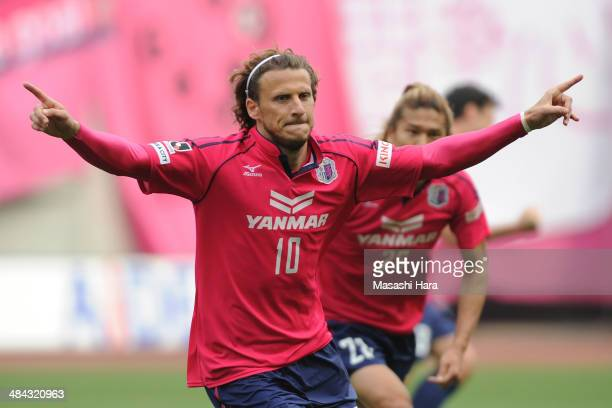 Diego Forlan of Cerezo Osaka celebrates the second goal during the JLeague match between Cerezo Osaka and Gamba Osaka at Nagai Stadium on April 12...