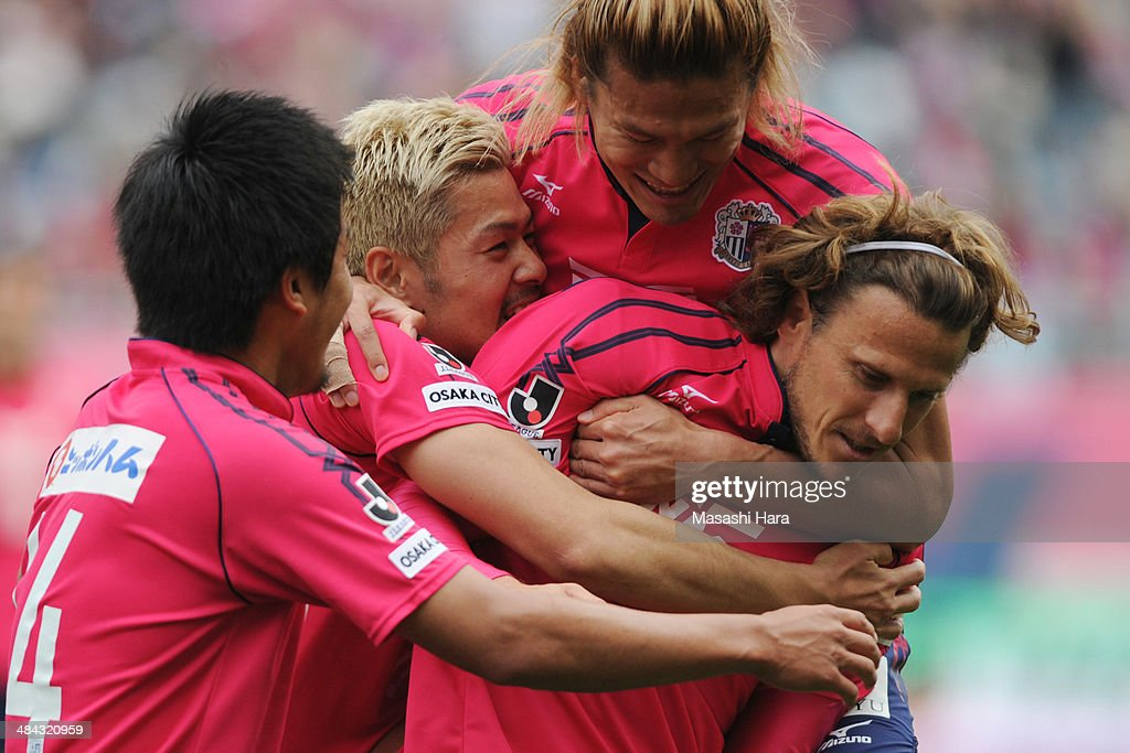 <a gi-track='captionPersonalityLinkClicked' href=/galleries/search?phrase=Diego+Forlan&family=editorial&specificpeople=171096 ng-click='$event.stopPropagation()'>Diego Forlan</a> #10 of Cerezo Osaka celebrates the second goal with teammates during the J.League match between Cerezo Osaka and Gamba Osaka at Nagai Stadium on April 12, 2014 in Osaka, Japan.