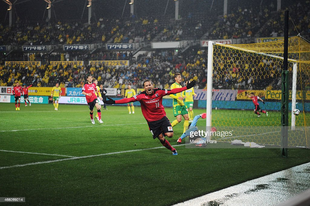 <a gi-track='captionPersonalityLinkClicked' href=/galleries/search?phrase=Diego+Forlan&family=editorial&specificpeople=171096 ng-click='$event.stopPropagation()'>Diego Forlan</a> #10 of Cerezo Osaka celebrates the third goal during the J.League second division match between JEF United Chiba and Cerezo Osaka at Fukuda Denshi Arena on April 1, 2015 in Chiba, Japan.
