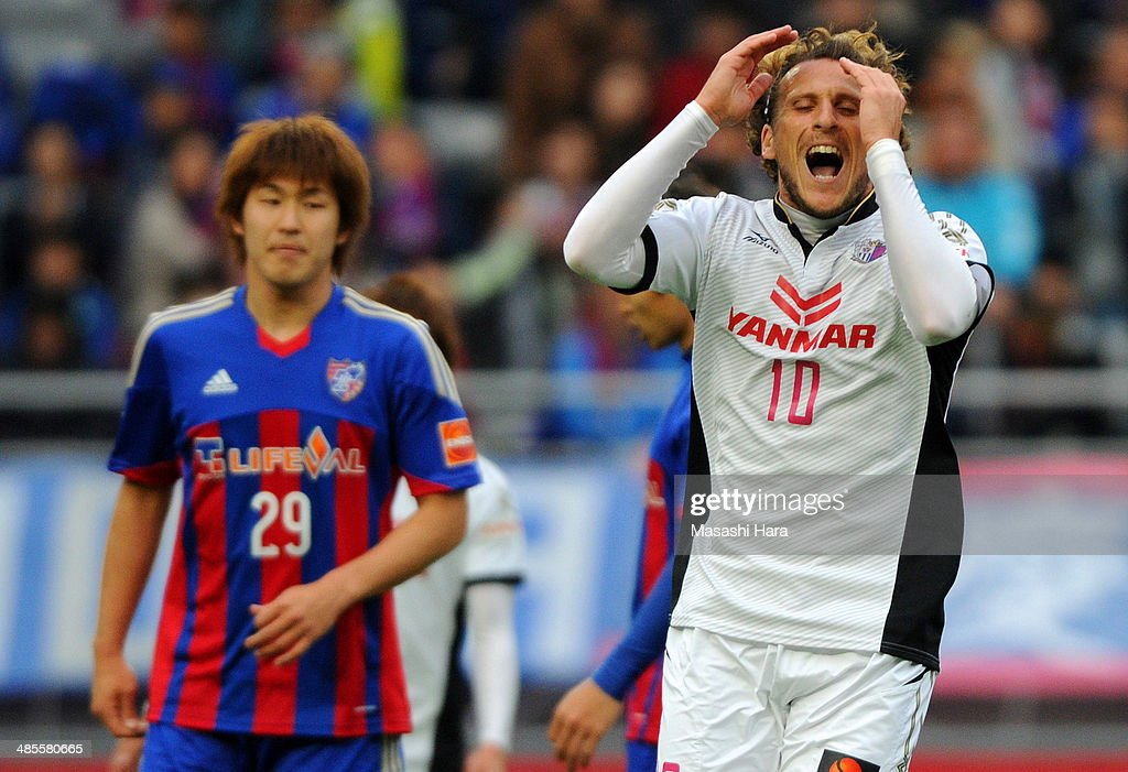 <a gi-track='captionPersonalityLinkClicked' href=/galleries/search?phrase=Diego+Forlan&family=editorial&specificpeople=171096 ng-click='$event.stopPropagation()'>Diego Forlan</a> #10 of Cerezo Osaka looks on during the J.League match between F.C. Tokyo and Cerezo Osaka at Ajinomoto Stadium on April 19, 2014 in Tokyo, Japan.