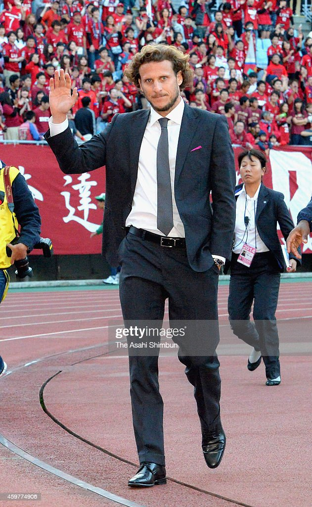 Diego Forlan of Cerezo Osaka shows his dejection on the relegation from the top division after the J.League match between Cerezo Osaka and Kashima Antlers at Yanmar Stadium Nagai on November 29, 2014 in Osaka, Japan.