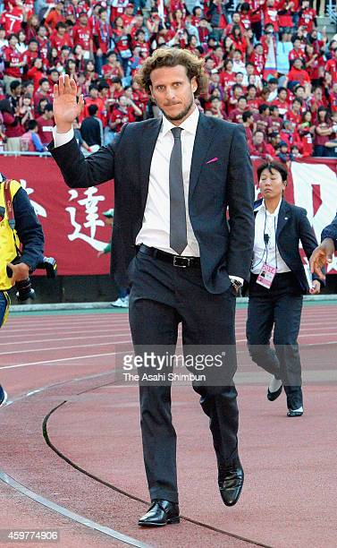 Diego Forlan of Cerezo Osaka shows his dejection on the relegation from the top division after the JLeague match between Cerezo Osaka and Kashima...