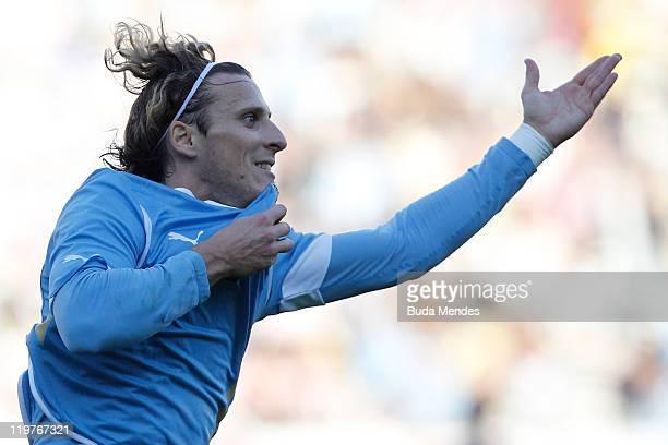 Diego Forlan of Uruguay celebrates scored goal during the Copa America 2011 final match between Uruguay and Paraguay at Monumental Antonio Vespucio...