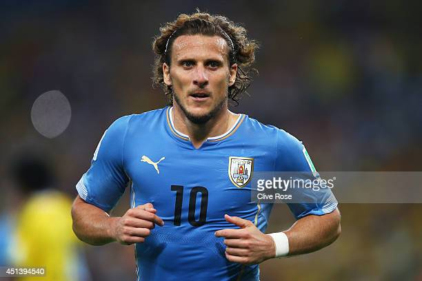 Diego Forlan of Uruguay looks on during the 2014 FIFA World Cup Brazil round of 16 match between Colombia and Uruguay at Maracana on June 28 2014 in...