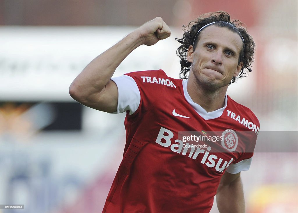 <a gi-track='captionPersonalityLinkClicked' href=/galleries/search?phrase=Diego+Forlan&family=editorial&specificpeople=171096 ng-click='$event.stopPropagation()'>Diego Forlan</a>, player of Internacional celebrates a goal during a match between Gremio and Internacional as part of the Gaucho championship at Centenario stadium on February 24, 2013 in Caixas Do Sul, Brazil.